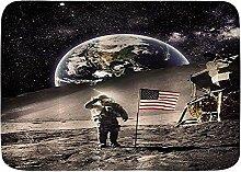 Badematte Teppich Astronaut mit USA Flagge auf dem