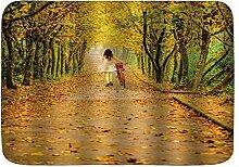 Badematte Teppich Herbstbäume mit gelben