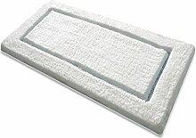 Badematte TIFFANY | aus flauschigem Hochflor | zum Set kombinierbar | weiß | mit hellblauem Relief | 5 Größen ( 70x120 cm)