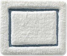 Badematte TIFFANY | aus flauschigem Hochflor | zum Set kombinierbar | weiß | mit hellblauem Relief | 5 Größen ( 50x60 cm)