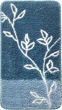 Badematte Zweige, blau (Duschvorlage halbrund