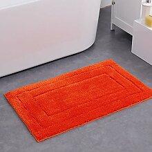 Badematten Mikrofaser Nicht Rutschfester Wasser Absorptions-Badezimmer Teppich, 50×80cm (Orange Rot)