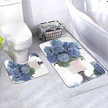 Badematten-Set 3D Bouquet Blue Hydrangea
