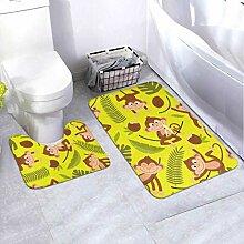 Badematten-Set AFFE auf Gelb 2-teiliges