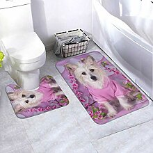 Badematten-Set Chinese Crested On Pink White