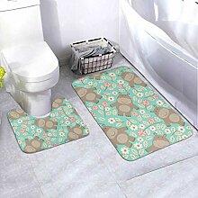 Badematten-Set-Muster Hippo 2-teiliges Teppich-Set