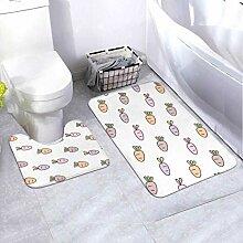 Badematten-Set-Muster Karotten-Design auf Weiß