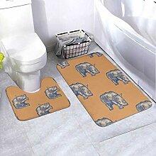 Badematten-Set Muster Rhino 2-teiliges Teppich-Set