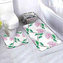 Badematten-Set-Muster Rosa Hortensien 2-teiliges