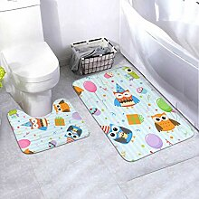 Badematten-Set Party Owls 2-teiliges Teppich-Set