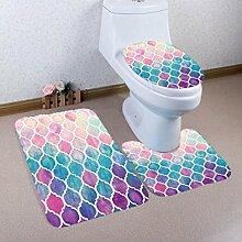 Badematten Set WC Teppiche Jamicy® 3 STÜCKE 1 Set Drucken Badezimmer Rutschfeste Sockel Teppich + Deckel Wc-abdeckung + Badematte Set (F)