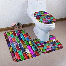Badematten Set WC Teppiche Jamicy® 3 STÜCKE 1 Set Drucken Badezimmer Rutschfeste Sockel Teppich + Deckel Wc-abdeckung + Badematte Set (A)