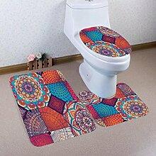 Badematten Set WC Teppiche Jamicy® 3 STÜCKE 1 Set Drucken Badezimmer Rutschfeste Sockel Teppich + Deckel Wc-abdeckung + Badematte Set (D)