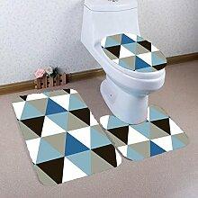 Badematten Set WC Teppiche Jamicy® 3 STÜCKE 1 Set Drucken Badezimmer Rutschfeste Sockel Teppich + Deckel Wc-abdeckung + Badematte Set (C)