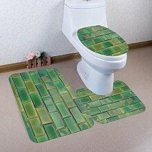 Badematten Set WC Teppiche Jamicy® 3 STÜCKE 1 Set Drucken Badezimmer Rutschfeste Sockel Teppich + Deckel Wc-abdeckung + Badematte Set (B)