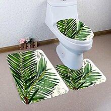 Badematten Set WC Teppiche Jamicy® 3 STÜCKE 1 Set Pastoral Drucken Badezimmer Rutschfeste Sockel Teppich + Deckel Wc-abdeckung + Badematte Set (A)
