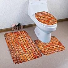 Badematten Set WC Teppiche Jamicy® 3 STÜCKE 1 Set Retro Drucken Badezimmer Rutschfeste Sockel Teppich + Deckel Wc-abdeckung + Badematte Set (C)