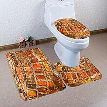 Badematten Set WC Teppiche Jamicy® 3 STÜCKE 1 Set Retro Drucken Badezimmer Rutschfeste Sockel Teppich + Deckel Wc-abdeckung + Badematte Set (E)
