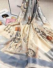 Bademode Das Geschenk 2018 der Frauen neue Art und Weise eleganter netter Sun-Blumen-Schal-Ausflug-Sonnenschutz Anti-UVklimaanlage-Schal ( Color : Khaki )