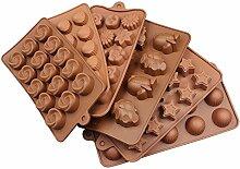 BADER DEPOT Silikonform für Schokoladenkuchen Dekoration Gelee Pudding Süßigkeit mit verschiedenen Designs Blume Dome Shell Sterne Vortex Design ect, Set von 6