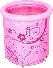 Badewanne Eindickung Erwachsene Badewanne Faltbare kann nach oben und unten Kind nehmen Sie ein Bad Badewanne Nylon Bad Fässer Geschenk Four Seasons Rosa-Blau 70 * 78cm ( farbe : Pink )