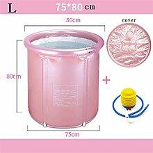 Badewanne Eindickung Erwachsene Badewanne Faltbare Stent Kind nehmen Sie ein Bad Badewanne Kunststoff Bad Fässer Geschenk Four Seasons Goldrosa ( farbe : Pink , größe : L )