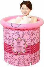 Badewanne Faltbare aufblasbare starke warme Erwachsen-Badewanne, Kinderaufblasbare Pool-Badewanne, rosa Rot Aufblasbare Badewanne ( größe : 75*75cm )