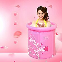 Badewanne Home Aufblasbare Badewanne Erwachsener oder Kind Faltbare Kunststoff Dicker Bad Wanne Waschbecken Bad Fässer, rosa (mit Luftpumpe) Aufblasbare Badewanne ( Farbe : A , größe : M )