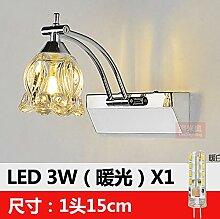 Badewanne Spiegel Lampen LisaFeng Spiegel vordere Lampe LED crystal Edelstahl Spiegelschrank Beleuchtung, 15 cm warmes Lich