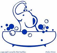 Badewanne, Wanne, Badewanne, Elefant (59 cm x 49 cm), Farbe: Azure Blue, Kinderzimmer, Kinder, Kinderzimmer, Wandtattoo, Vinyl, Fenster und Auto-Aufkleber Wand-Windows- Art ThatVinylPlace Wandtattoo,
