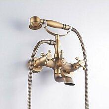 Badewanne Wasserhahn Messing antik mit Handbrause