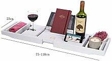 Badewannen-Ablage Buch Tablet Handy Wein-Glas