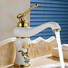 Badezimmer aus Marmor Waschbecken Mischbatterie mit einzigen Griff Bowlder Becken Tippen und Golden Badezimmer Mischbatterie, Gelb