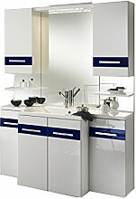 Badezimmer Badblock »VARINO« Hochglanz weiß mit Glas-Inlays