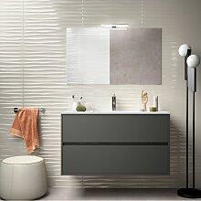 Badezimmer Badmöbel 100 cm aus mattgrauem Holz