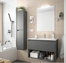 Badezimmer Badmöbel 60 cm aus mattgrau Holz mit
