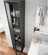 Badezimmer Badmöbel 60 cm aus mattgrauem Holz mit