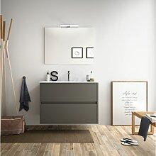 Badezimmer Badmöbel 80 cm aus mattgrauem Holz mit