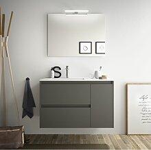 Badezimmer Badmöbel 85 cm aus mattgrauem Holz mit