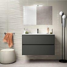 Badezimmer Badmöbel 90 cm aus mattgrauem Holz mit