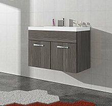 Badezimmer Badmöbel Paso 01 80 cm Waschbecken Bodega (grau) - Unterschrank Schrank Waschbecken Waschtisch