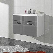 Badezimmer Badmöbel Paso 01 80 cm Waschbecken Hochglanz Grau Fronten - Unterschrank Schrank Waschbecken Waschtisch