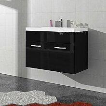 Badezimmer Badmöbel Paso 01 80 cm Waschbecken Hochglanz Schwarz Fronten - Unterschrank Schrank Waschbecken Waschtisch