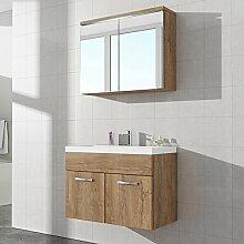 Badezimmer Badmöbel Paso 02 80 cm Waschbecken Lefkas (Braun) - Unterschrank Schrank Waschbecken Spiegelschrank Schrank
