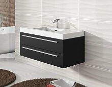 Badezimmer Badmöbel Rome 100 cm schwarzes Holz - Unterschrank Schrank Waschbecken Waschtisch