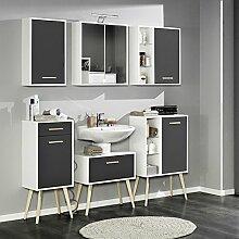 Badezimmer Badmöbel Set LECCE-03, anthrazit matt, weiß, Buche massiv,Waschbeckenschrank, Badezimmermöbel, Badmöbelse