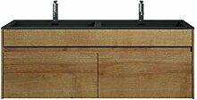 Badezimmer Badmöbel Set Ontario 120cm Bamboo mit