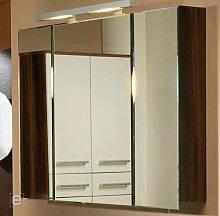 Badezimmer Badmöbel Spiegelschrank Türdämpfer Neonlicht Hochglanz zwetschge