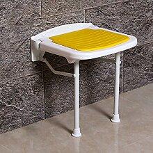 Badezimmer Dusche Stuhl Klapp Hocker Älter Safe Sanitär Stühle Wandpaneel ( Farbe : Gelb , größe : 47cm )
