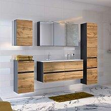 Badezimmer Einrichtung mit Doppelwaschbecken LED